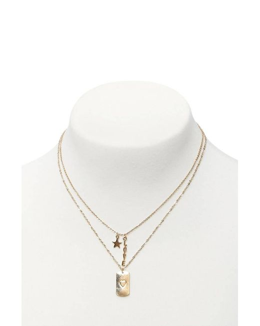 Forever 21 - Metallic Love Pendant Necklace Set - Lyst