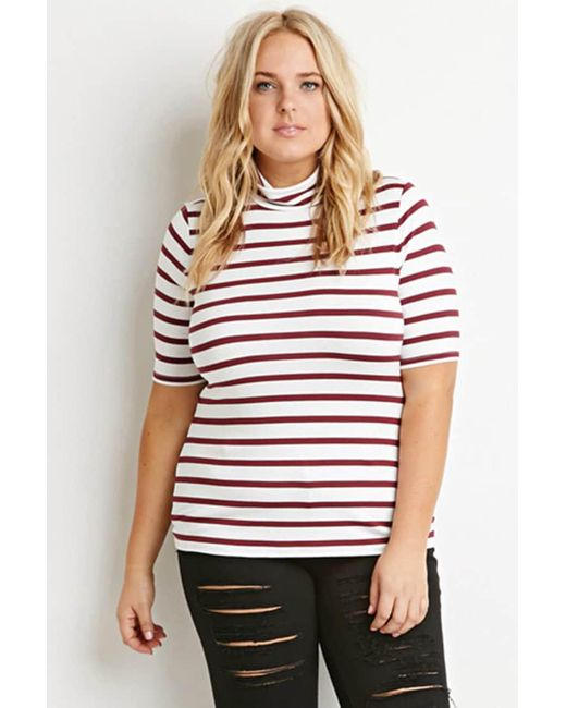 Forever 21 | Purple Striped Turtleneck Top | Lyst