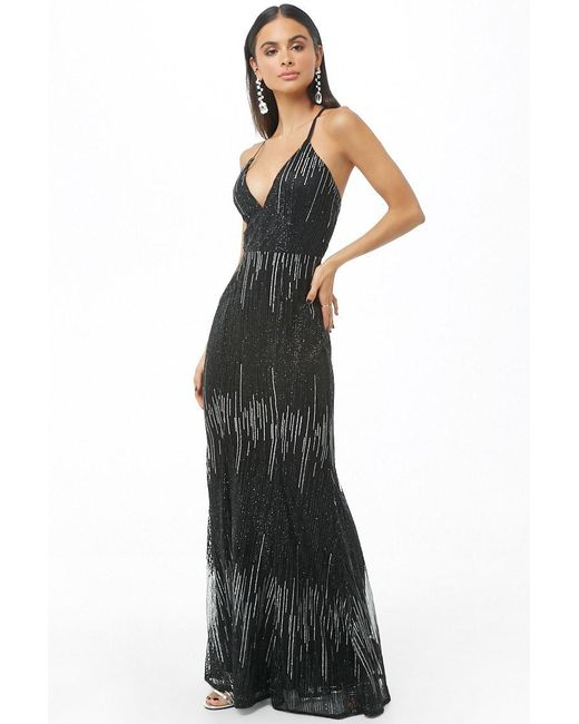 64dbe0ca069a Forever 21 - Black Glittered Mesh Gown - Lyst ...