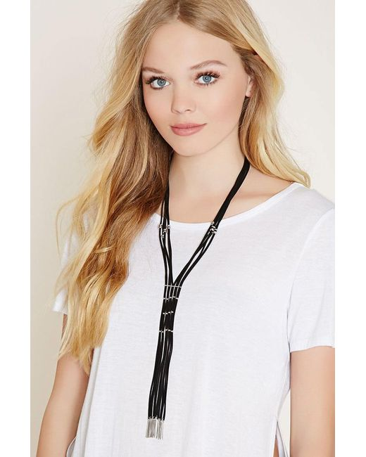 Forever 21 | Black Fringe Faux Leather Necklace | Lyst