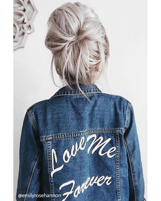 Forever 21   Blue Love Me Forever Denim Jacket   Lyst