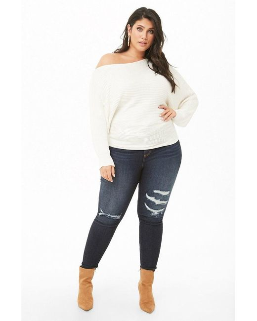 1570a5ab5aa ... Forever 21 - White Plus Size Ribbed Off-the-shoulder Sweater - Lyst