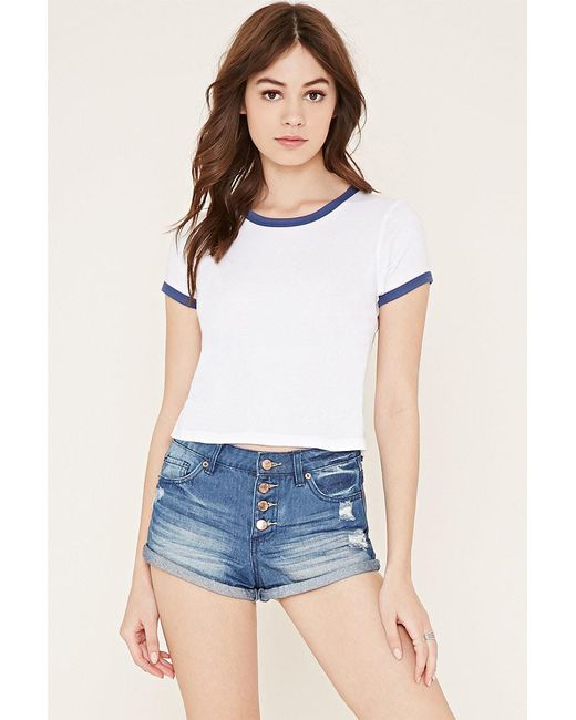 Forever 21 | Blue Button-fly Denim Shorts | Lyst