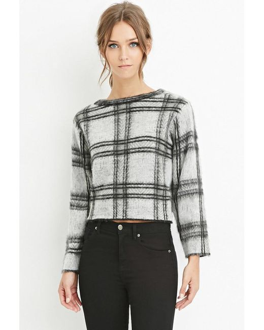 FOREVER21 - White Fuzzy Plaid Sweater - Lyst