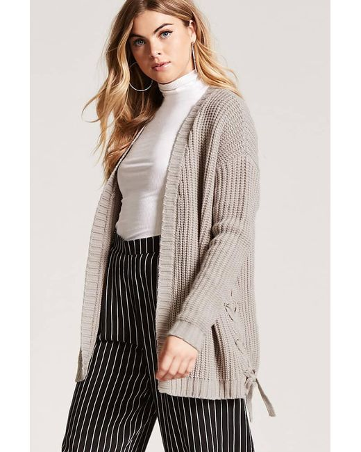 Forever 21 | Multicolor Lace-up Cardigan | Lyst