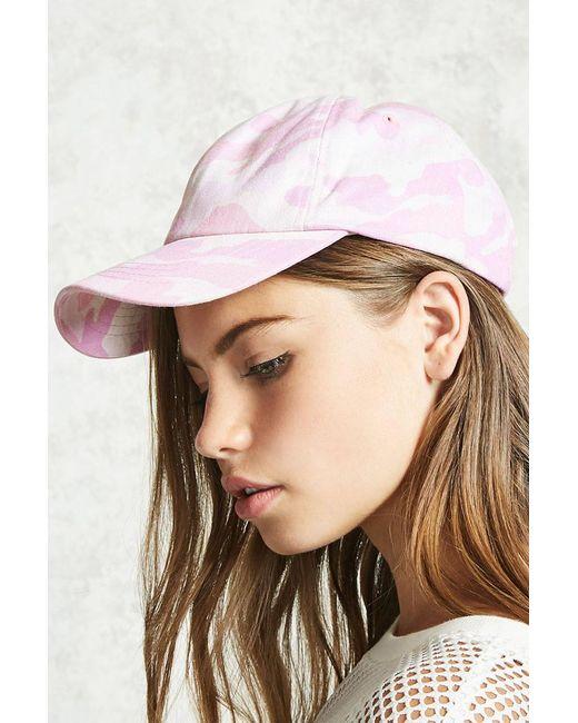 Forever 21 - Pink Camo Print Baseball Cap - Lyst