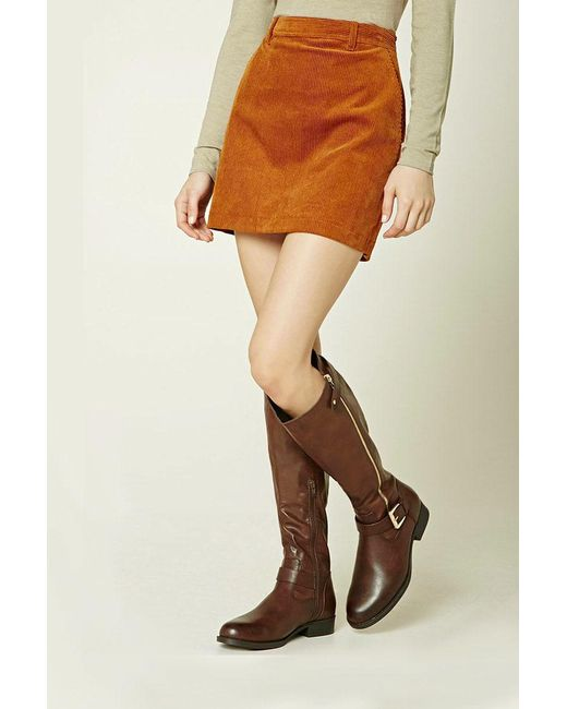 Forever 21 | Brown Knee-high Faux Leather Boots | Lyst