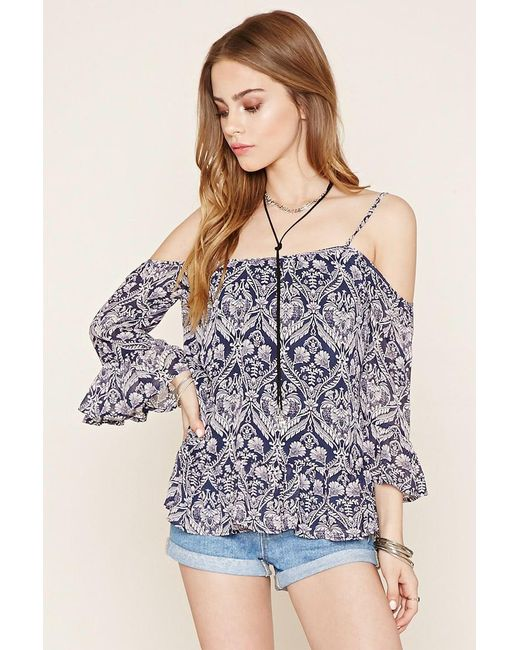 Forever 21 | Blue Ornate Open-shoulder Top | Lyst