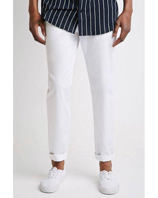 Forever 21 - White Slim Cotton Chinos for Men - Lyst