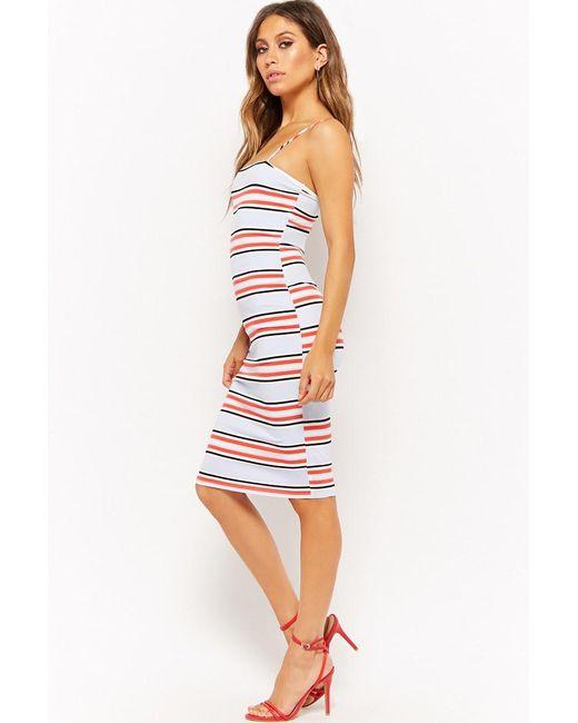 27f14638d80 ... Lyst Forever 21 - White Women s Striped Bodycon Dress ...