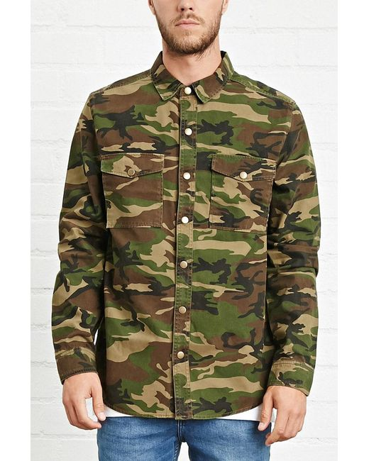 bbe826434ba5f Forever 21 - Green 's Camo Print Button-front Jacket for Men - Lyst ...