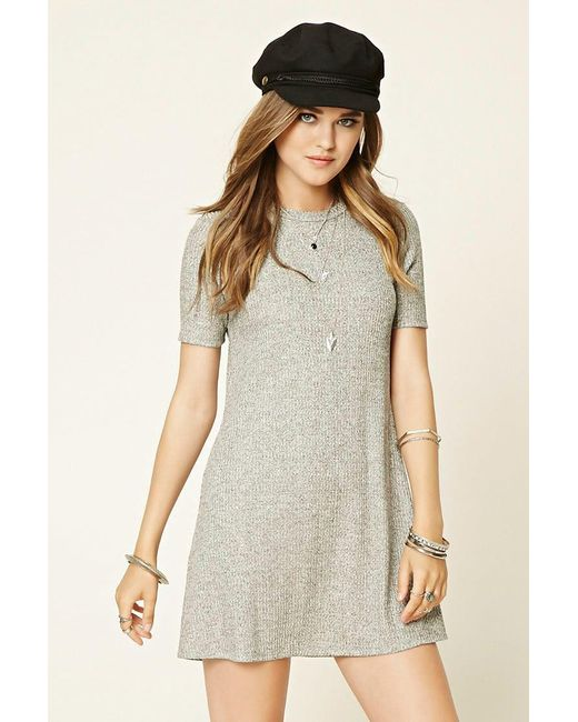 Forever 21 | Gray Marled Knit Shift Dress | Lyst
