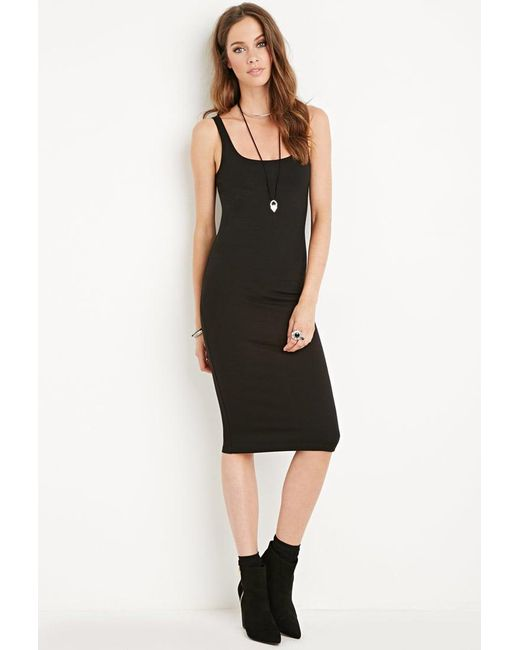 Forever 21 | Black Midi Bodycon Dress | Lyst