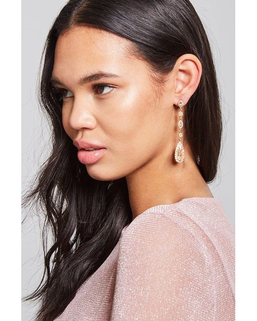 Forever 21 | Metallic Floral Pave Drop Earrings | Lyst
