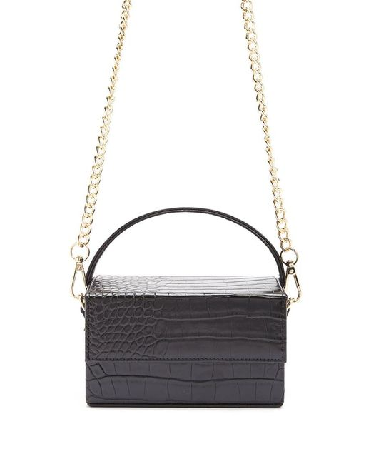 Forever 21 Black Faux Croc Embossed Crossbody Bag