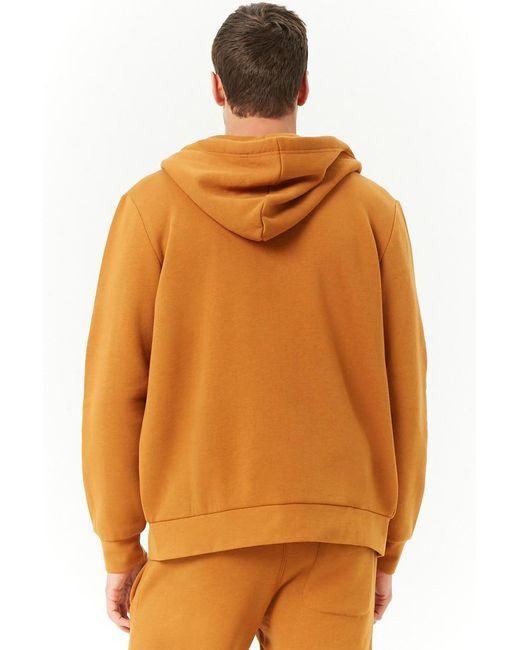 2cbe7d0b3b ... Forever 21 - Orange Zip-up Hoodie Sweatshirt for Men - Lyst ...