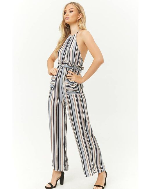 9e35ac0f212 Forever 21 Striped Halter Jumpsuit in Blue - Lyst