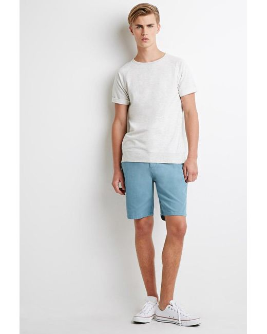 Forever 21 - Blue Cotton Canvas Shorts for Men - Lyst