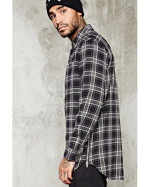 Forever 21 | Black Slim-fit Zip-hem Flannel Shirt for Men | Lyst