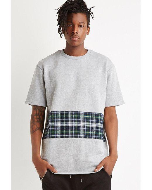 Forever 21 - Gray Oversized Plaid Panel Sweatshirt for Men - Lyst
