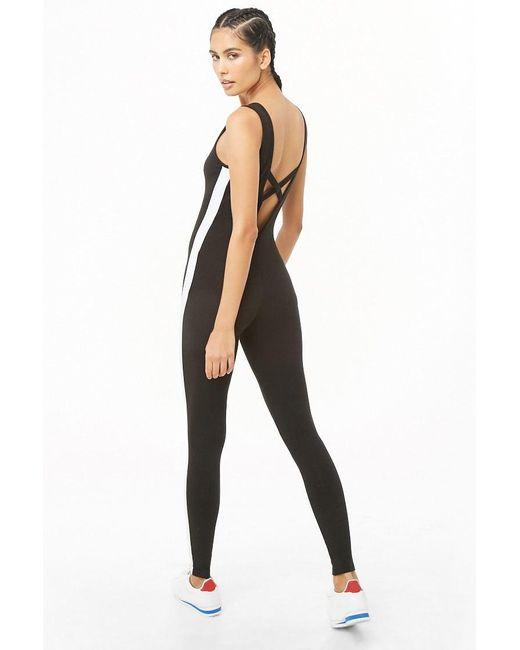 Forever 21 Active Striped-trim Jumpsuit , Black/white