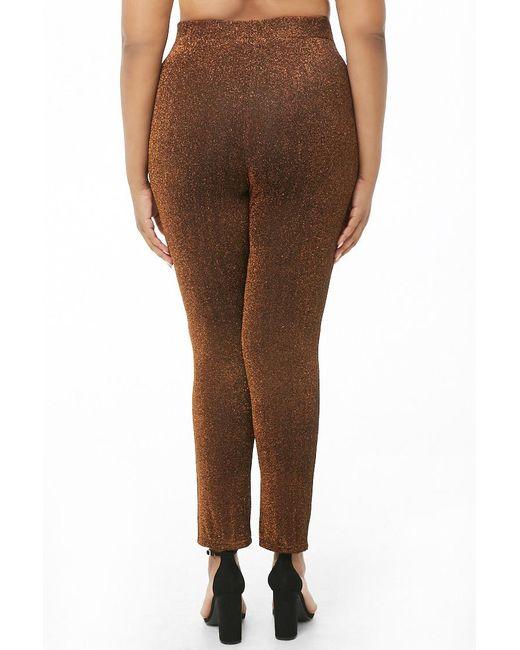 dddea7f74d4e01 ... Forever 21 - Brown Women's Plus Size Glittered Metallic Leggings ...