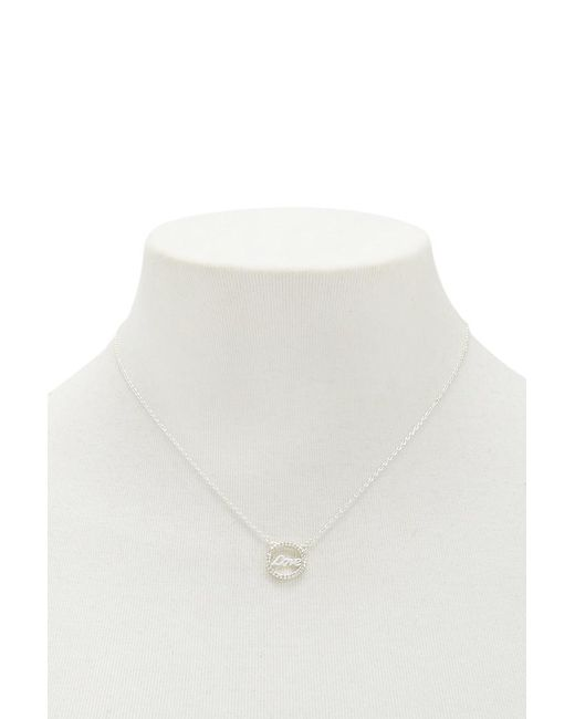 Forever 21 - Metallic Women's Circular Love Charm Necklace - Lyst