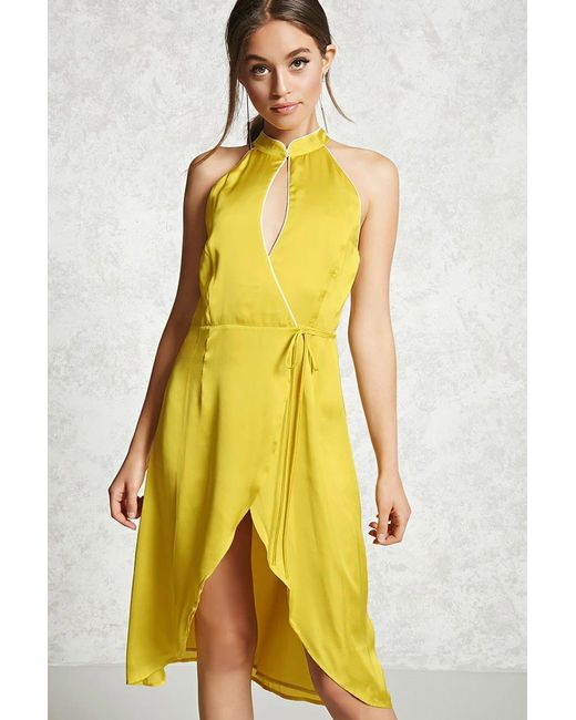 Forever 21 | Yellow Contemporary Satin Wrap Dress | Lyst