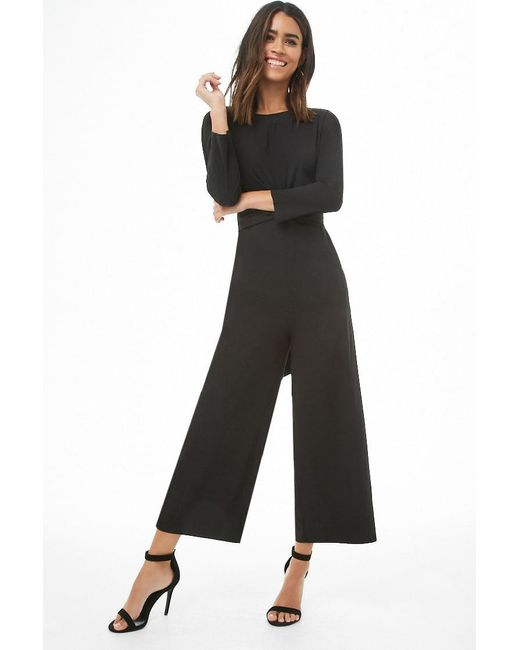 3e1ddd2b9c2 Forever 21 - Black Long Sleeve Tie-front Ankle Jumpsuit - Lyst ...