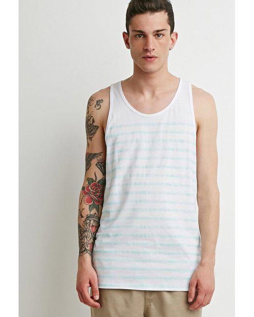 Forever 21 - White Faded-stripe Tank for Men - Lyst