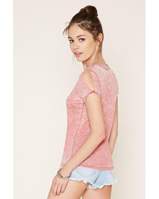 Forever 21 | Pink Burnout Knit Tee | Lyst