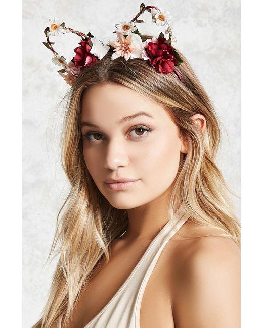 Forever 21 - Multicolor Flower Cat Ear Headband - Lyst