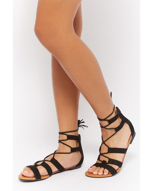 Forever 21 Faux Suede Gladiator Sandals , Black