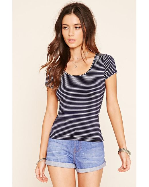 Forever 21   Blue Stripe Knit Top   Lyst