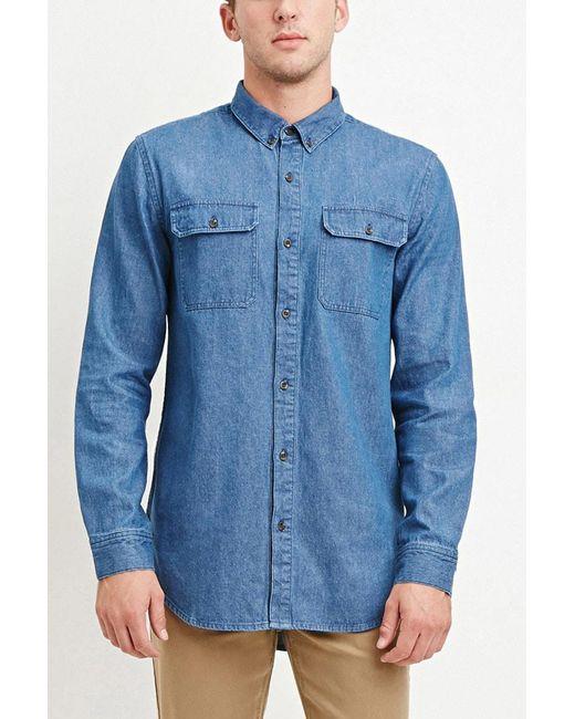 Forever 21   Blue Two-pocket Denim Shirt for Men   Lyst
