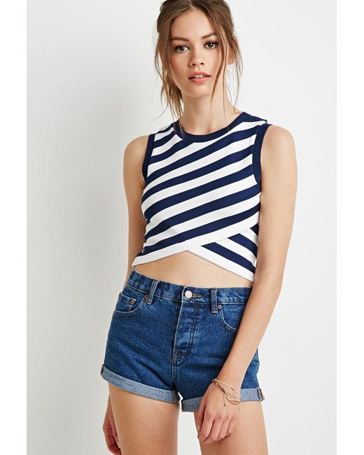 Forever 21 - Blue Striped Wrap Jumper - Lyst