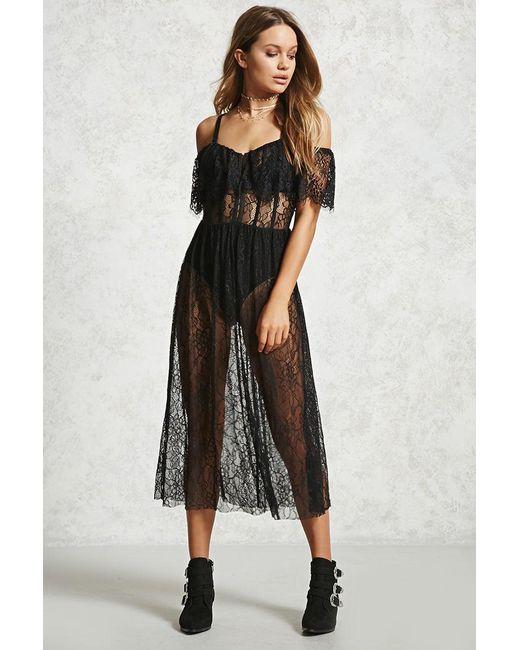 Forever 21 | Black Eyelash Lace Maxi Dress | Lyst