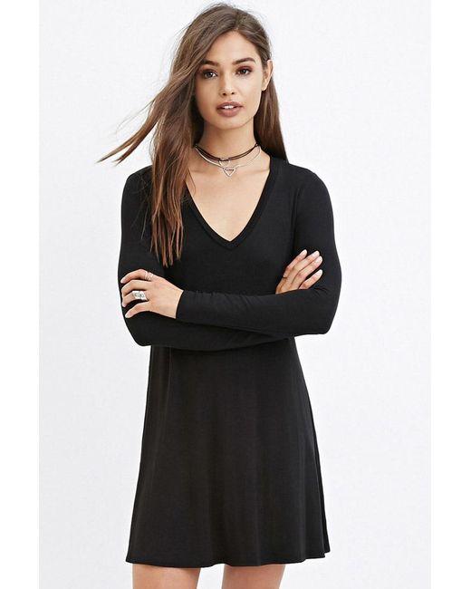 Forever 21   Black V-neck Dress   Lyst