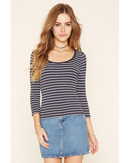 Forever 21 Striped Ribbed Knit Top In Black Lyst