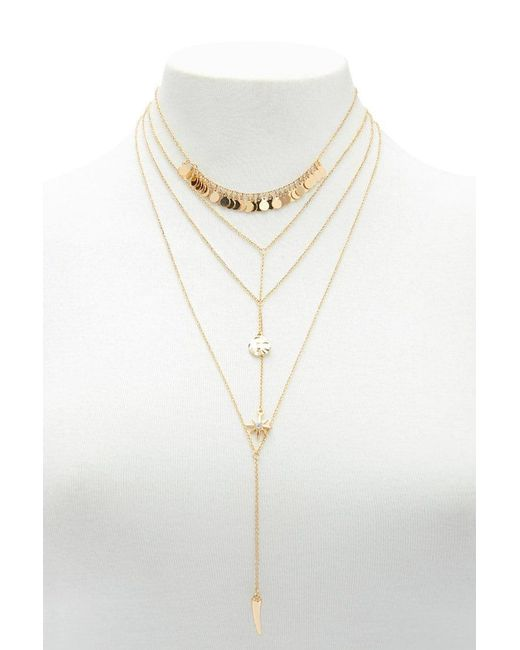 Forever 21 - Metallic Layered Drop Chain Set - Lyst