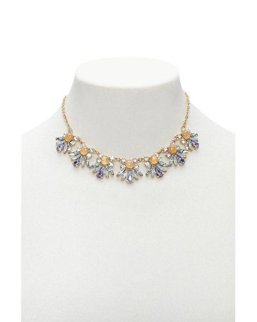 Forever 21 - Metallic Floral Faux Gem Statement Necklace - Lyst