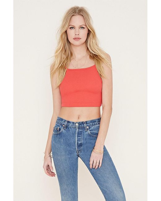 Forever 21 | Orange Cotton-blend Cropped Cami | Lyst