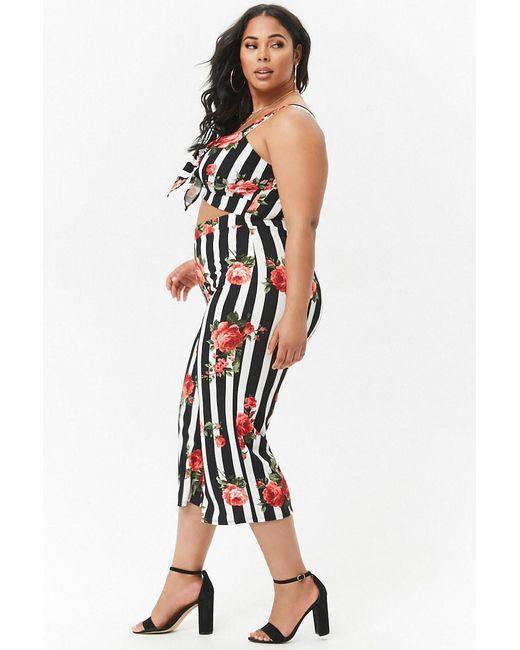 83e1e4104bb ... Forever 21 - Black Women s Plus Size Striped Floral Wide-leg Jumpsuit  ...