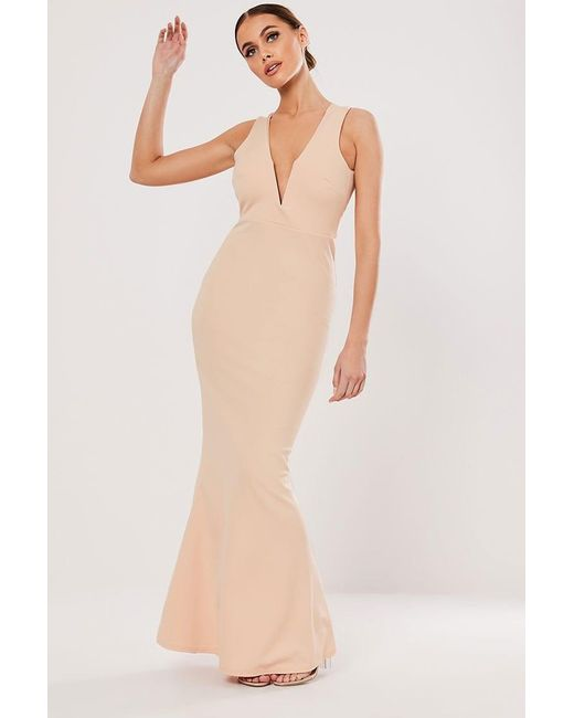 Missguided - Natural Plunging Gown At - Lyst