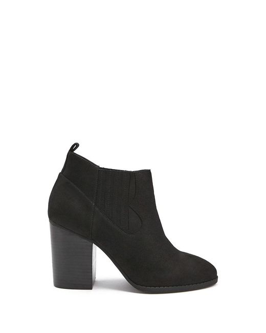 Forever 21 - Black Western-inspired Faux Suede Booties - Lyst