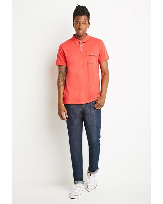 Forever 21 - Orange Slub Knit Polo for Men - Lyst