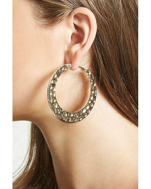 Forever 21 - Metallic Hammered Hoop Earrings - Lyst