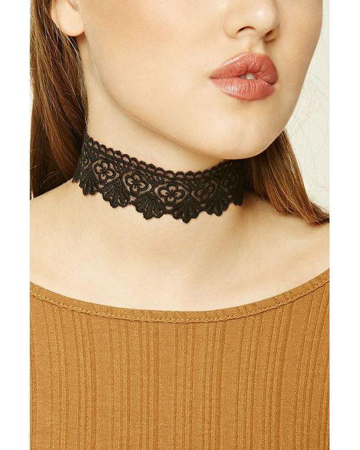 Forever 21 | Black Scalloped Crochet Choker | Lyst