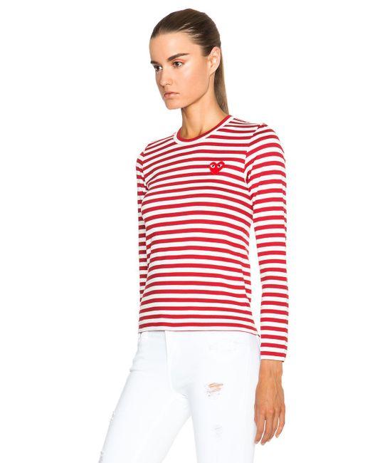 comme des gar ons striped cotton red emblem tee in white. Black Bedroom Furniture Sets. Home Design Ideas