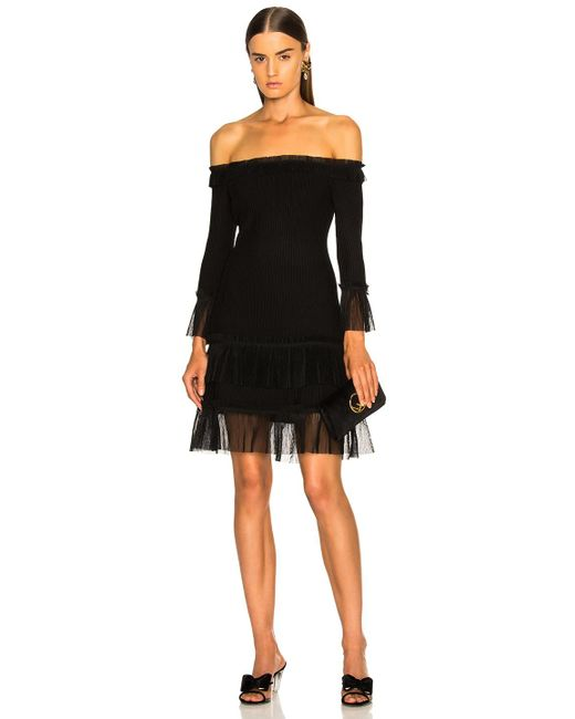 Jonathan Simkhai - Black Pleated Off Shoulder Fit And Flare Dress - Lyst